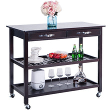 Load image into Gallery viewer, Order now lz leisure zone rolling kitchen island serving cart wood trolley w countertop 2 drawers 2 shelves and lockable wheels dark brown