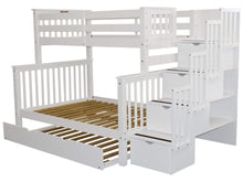 Load image into Gallery viewer, Buy bedz king stairway bunk beds twin over full with 4 drawers in the steps and a twin trundle white