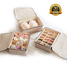 Load image into Gallery viewer, Explore underwear and socks organizer with lid for women set of 3 foldable drawer storage boxes for sorting storage socks bra underwear beige