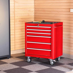 Discover goplus 30 x 24 5 tool box cart portable 6 drawer rolling storage cabinet multi purpose tool chest steel garage toolbox organizer with wheels and keyed locking system classic red