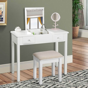 Buy aodailihb vanity table with flip top mirror makeup dressing table writing desk with cushioning makeup stool set 2 drawers 3 removable organizers easy assembly white