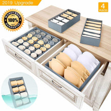 Load image into Gallery viewer, Buy now underwear organizer dresser drawer organizer foldable closet drawer dividers washable sock organizer storage bra box fabric bin for baby clothes panties lingeries ties belts