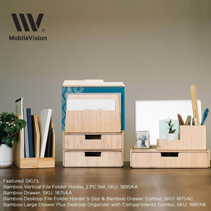 Budget large bamboo drawer 2 pk monitor stand stackable storage solution for office products pens pencils scissors notepads business cards and more