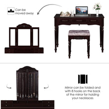 Load image into Gallery viewer, Cheap homecho vanity table set with 7 drawers and 6 makeup organizers removable tri folding mirror and 8 necklace hooks with cushioned stool dark espresso hmc md 010