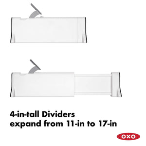 Organize with oxo good grips expandable dresser drawer divider 2 pack