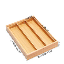 Load image into Gallery viewer, Storage organizer bamboo expandable utensil cutlery tray drawer organizer divider 3 compartments with 2 adjustable dimensions beautiful durable and multifunctional utensil holder and organizer