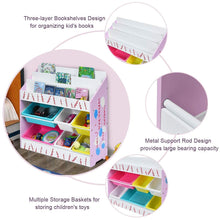 Load image into Gallery viewer, Amazon best costzon kids toy storage organizer bookshelf children bookshelf with 6 multiple color removable bins shelf drawer 3 shelf sleeves ideal for kids room playroom and class room pink