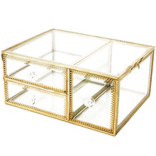 Load image into Gallery viewer, Buy antique beauty display clear glass 3drawers palette organizer cosmetic storage makeup container 3cube hoder beauty dresser vanity cabinet decorative keepsake box