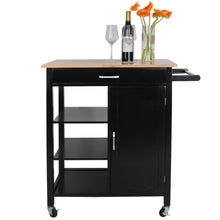 Load image into Gallery viewer, Exclusive zenstyle 4 tier rolling kitchen island utility wood trolley serving cart kitchen storage cart w towel rack rubberwood butcher block countertop cabinet drawer shelves