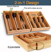 Load image into Gallery viewer, Save voxxov silverware organizer bamboo cutlery and flatware drawer organizer tray kitchen expandable utensils drawer organizer with drawer dividers 2 in 1 design ideal for organizing other accessories