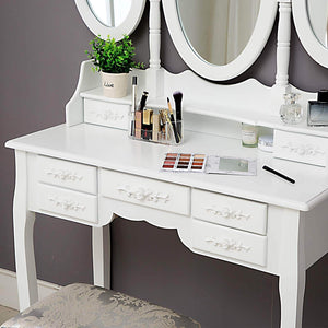 Home honbay trifold mirrors makeup vanity table set cushioned stool and surprise gift makeup organizer with 7 drawers dressing table white