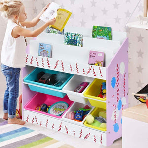 Best costzon kids toy storage organizer bookshelf children bookshelf with 6 multiple color removable bins shelf drawer 3 shelf sleeves ideal for kids room playroom and class room pink