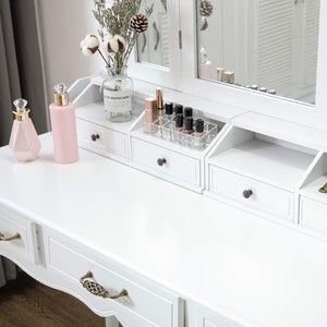Organize with honbay vanity set tri folding necklace hooked mirror 7 large drawers free organizer 2 makeup brush holders makeup dressing table with cushioned stool for women girls white