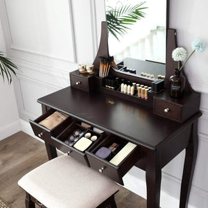 Top vasagle vanity table set with large frameless mirror makeup dressing table set for bedroom bathroom 5 drawers and 1 removable storage box cushioned stool walnut urdt25wn