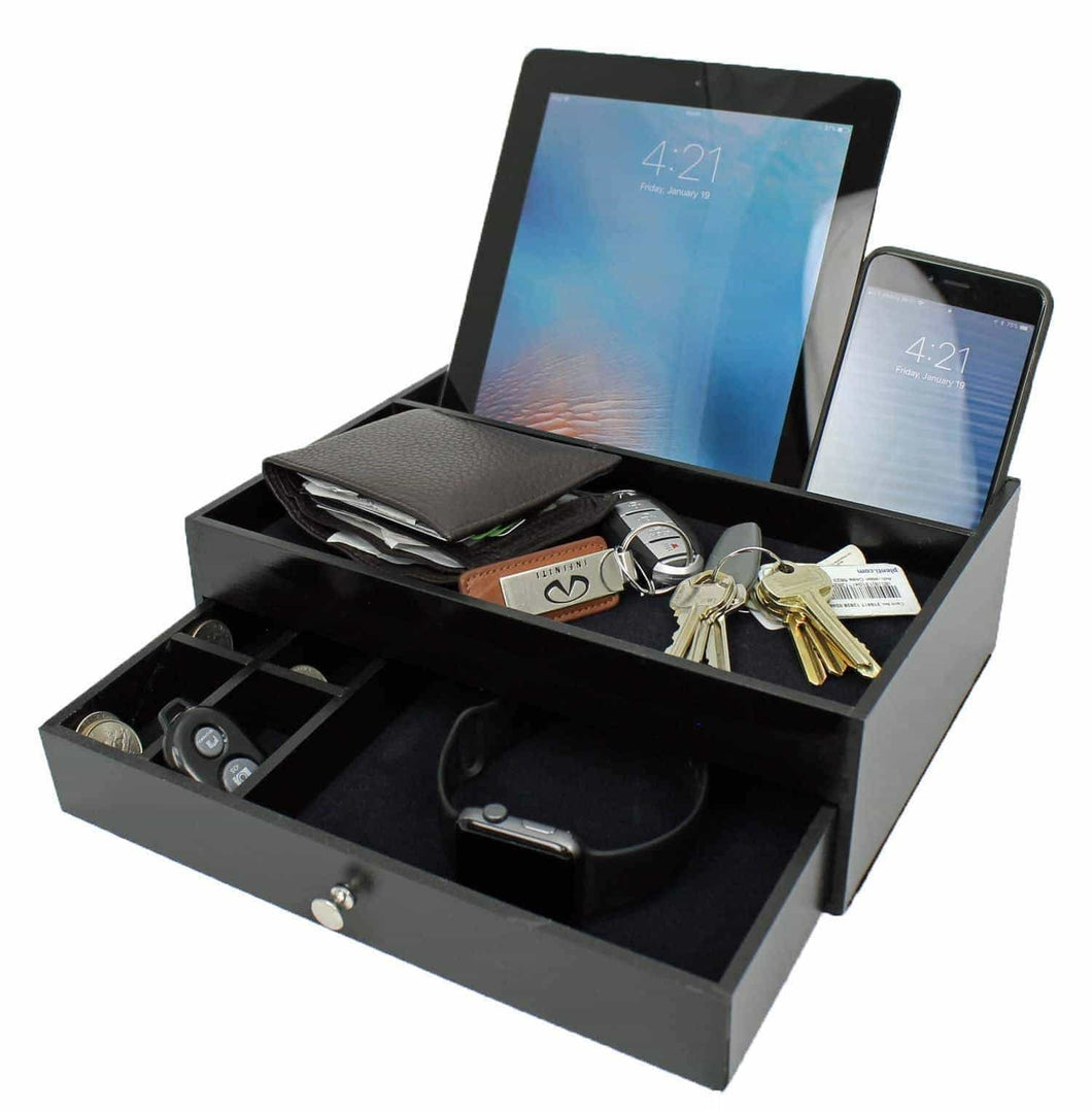 Shop for ideas in life valet drawer charging station black nightstand organizer wallet and key tray holds watches jewelry tablet 5 compartment cell phone holder for men and women