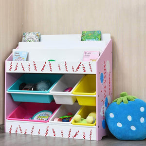 Best seller  costzon kids toy storage organizer bookshelf children bookshelf with 6 multiple color removable bins shelf drawer 3 shelf sleeves ideal for kids room playroom and class room pink