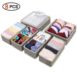 Dresser Drawer Organizer, 8 Pcs Foldable Storage Box Fabric Closet Storage Cubes Clothes Storage Bins Drawer Dividers Storage Baskets for Bras Socks Underwear Accessories Home Office Bedroom