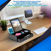 Load image into Gallery viewer, Shop here ideas in life valet drawer charging station black nightstand organizer wallet and key tray holds watches jewelry tablet 5 compartment cell phone holder for men and women