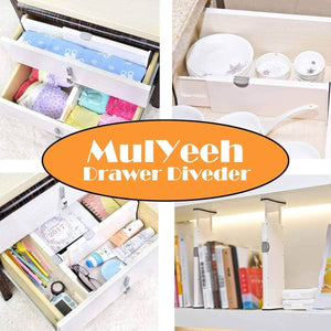 Buy now mulyeeh 2 4 pcs expandable drawer dividers adjustable dresser drawer divider separators organize silverware and utensils wardrobe storage organization