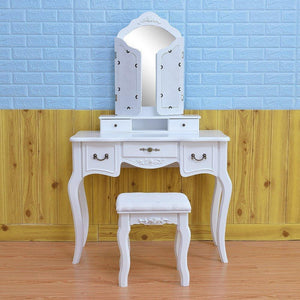 Buy azadx makeup table set tri folding mirror vanity table set dressing table organizers with cushioned stool bedroom white 5 drawer