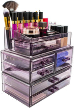 Load image into Gallery viewer, Shop here sorbus cosmetics makeup and jewelry storage case display sets interlocking drawers to create your own specially designed makeup counter stackable and interchangeable purple