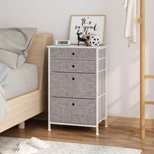Load image into Gallery viewer, Heavy duty langria faux linen home dresser storage tower with 4 easy pull drawers sturdy metal frame and wooden tabletop perfect organizer for guest room dorm room closet hallway office area gray