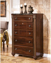 Load image into Gallery viewer, The best ashley furniture signature design gabriela chest of drawers 5 drawer dresser antiqued goldtone dark reddish brown