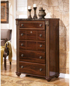 The best ashley furniture signature design gabriela chest of drawers 5 drawer dresser antiqued goldtone dark reddish brown