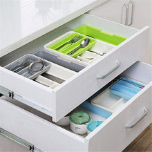 Load image into Gallery viewer, Discover stock show expandable stackable movable adjustable plastic cutlery tray kitchen utensil drawer organizer tableware holder silverware storegrey