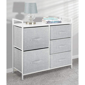 Budget mdesign wide dresser storage tower sturdy steel frame wood top easy pull fabric bins organizer unit for bedroom hallway entryway closets textured print 5 drawers gray white