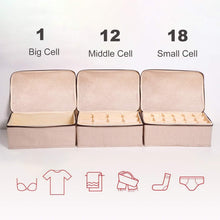 Load image into Gallery viewer, Kitchen underwear and socks organizer with lid for women set of 3 foldable drawer storage boxes for sorting storage socks bra underwear beige