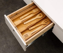 Load image into Gallery viewer, Top rated bamboo expandable utensil cutlery tray drawer organizer divider 3 compartments with 2 adjustable dimensions beautiful durable and multifunctional utensil holder and organizer