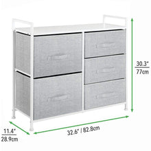 Load image into Gallery viewer, Amazon mdesign wide dresser storage tower sturdy steel frame wood top easy pull fabric bins organizer unit for bedroom hallway entryway closets textured print 5 drawers gray white