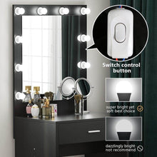 Load image into Gallery viewer, Cheap tribesigns vanity set with lighted mirror makeup vanity dressing table dresser desk with large drawer for bedroom black 10 cool led bulbs