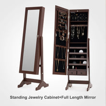 Load image into Gallery viewer, Best mecor jewelry armoire led standing mirrored jewelry cabinet organizer storage lockable full length mirror makeup box w 2 drawers 5 shelves 3 adjustable angle brown