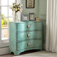 Load image into Gallery viewer, Top madison park fulton accent chest wood living room 3 drawer storage unit cracked antique blue teal antique rustic style floor cabinet