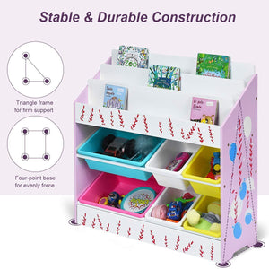 Amazon costzon kids toy storage organizer bookshelf children bookshelf with 6 multiple color removable bins shelf drawer 3 shelf sleeves ideal for kids room playroom and class room pink