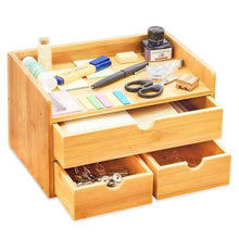 Load image into Gallery viewer, Shop here 100 natural bamboo wood shelf organizer for desk with drawers mini desk storage for office supplies toiletries crafts etc great for desk vanity tabletop in home or office