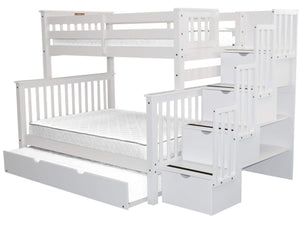 Buy now bedz king stairway bunk beds twin over full with 4 drawers in the steps and a twin trundle white