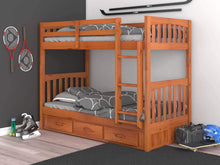 Load image into Gallery viewer, Order now discovery world furniture mission twin over twin bunk bed with 3 drawers desk hutch chair and 5 drawer chest in honey finish