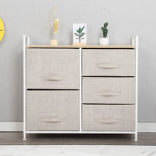Load image into Gallery viewer, Results soges 5 drawer storage organizer unit for bedroom play room closets entryway free standing rack metal frame with fabric bin beige 107 bm