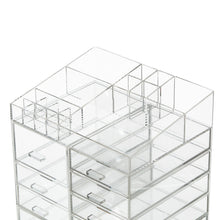 Load image into Gallery viewer, Cheap cq acrylic extra large 8 tier clear acrylic cosmetic makeup storage cube organizer with 10 drawers the top of the different size of the compartment suitable for storing lipstick and makeup brush