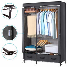 Load image into Gallery viewer, Home lifewit full metal closet organizer wardrobe closet portable closet shelves with adjustable legs non woven fabric clothes cover and 3 drawers sturdy and durable large size