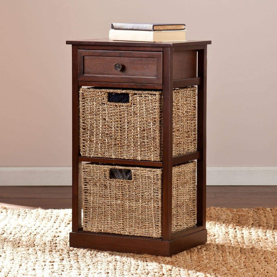 Shop barrett storage shelf with 2 seagrass baskets compact space saving organizer features one drawer and two woven baskets contemporary style with coastal inspired influence 15 75 x 12 x 27 75 h