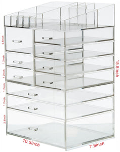 Discover the cq acrylic extra large 8 tier clear acrylic cosmetic makeup storage cube organizer with 10 drawers the top of the different size of the compartment suitable for storing lipstick and makeup brush