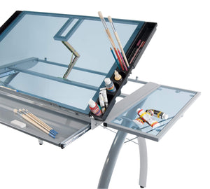 Related sd studio designs futura craft station w folding shelf top adjustable drafting table craft table drawing desk hobby table writing desk studio desk w drawers 35 5w x 23 75d silver blue glass