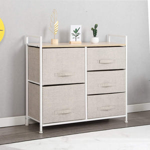 Selection soges 5 drawer storage organizer unit for bedroom play room closets entryway free standing rack metal frame with fabric bin beige 107 bm