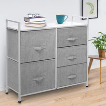 Load image into Gallery viewer, Best seller  kingso fabric 5 drawer dresser storage tower organizer unit with sturdy steel frame and easy pull faux linen drawers for bedroom living room guest room dorm closet grey