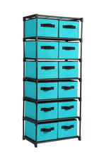 Load image into Gallery viewer, Online shopping homebi storage chest shelf unit 12 drawer storage cabinet with 6 tier metal wire shelf and 12 removable non woven fabric bins in turquoise 20 67w x 12d x49 21h