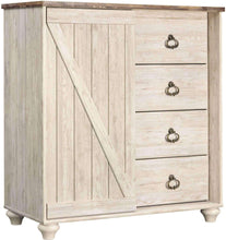 Load image into Gallery viewer, Explore ashley furniture signature design willowton dressing chest casual 4 drawers sliding door storage whitewash finish faux plank top antiqued brass hardware